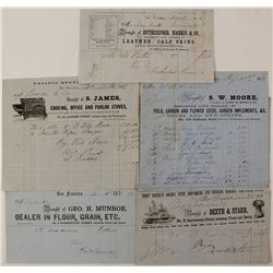 Five 1850's San Francisco Billheads (Two Pictorial)