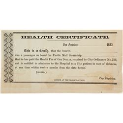 1852 San Francisco Steamer Heath Certificate for Arriving People