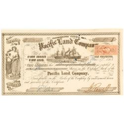 Pacific Land Company Stock Certificate, 1863
