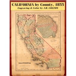 Map of California by County, 1855