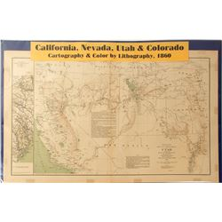 Map of California, Nevada, Utah & Colorado, 1860