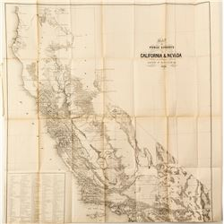 Map of Public Surveys in California & Nevada Territory by Surveyor General in 1863