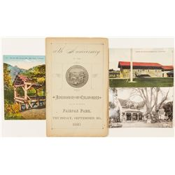 Postcards (3) & Anniversary Admission to Society of California Pioneers