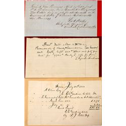 Three Early Hand Written California Receipts (Sonora, Forest Hill, San Francisco)