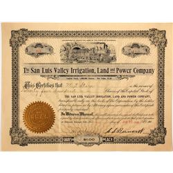 San Luis Valley Irrigation Land & Power Co. Stock Certificate, 1906