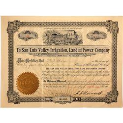 San Luis Valley Irrigation Land & Power Co. Stock Certificate, 1906