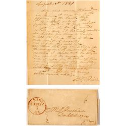 Auraria Stampless Letter from JBC Quillian to MP Quillian