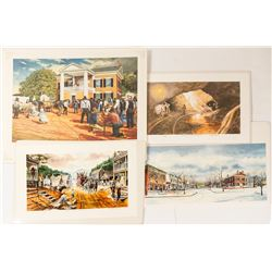4 Different Signed Dahlonega Prints