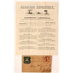 1857 W.W. Woodruff & Co. Carriage Co. Lettersheet & Cover