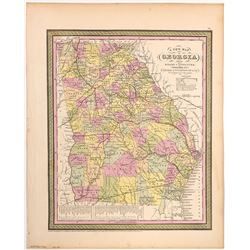1851 Cowperthwait Map of Georgia