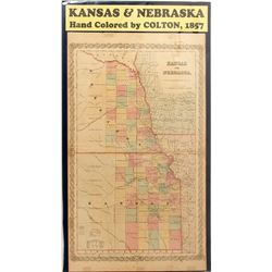 Map of Kansas & Nebraska, 1857, Colton