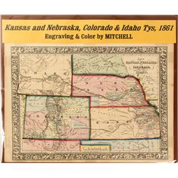 Map of Kansas & Nebraska, Colorado & Idaho, 1861