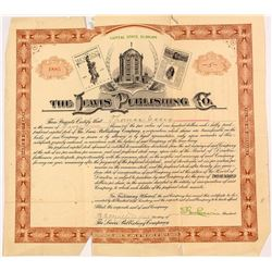 Lewis Publishing Company Stock Certificate with Unusual Vignettes