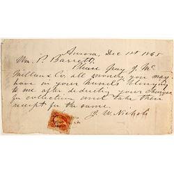 Aurora, Nevada 1865 Receipt