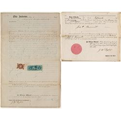 1867 Deed for the Exchange Stable in Aurora, Nevada w/ 50 cent Nevada Revenue Stamp