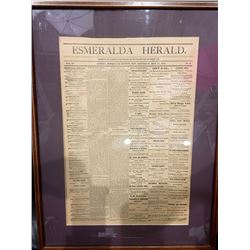 Framed Esmeralda Herald Newspaper