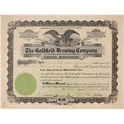 Goldfield Brewing Company Stock Certificate, Number 3