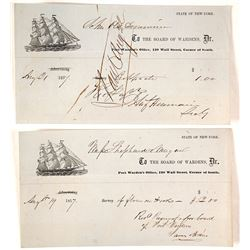 1857 New York Port Warden's Receipts