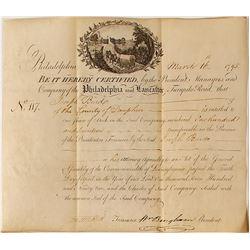 Philadelphia & Lancaster Turnpike Road Stock Certificate, 1795