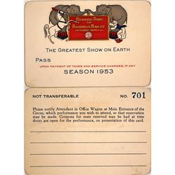 Ringling Bros. Circus and Barnum & Bailey Combined Shows Season Pass, 1953