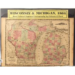 Map of Wisconsin & Michigan, 1864