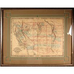 Johnson 1864 Map of CA, NV, UT, CO, NM, and AZ