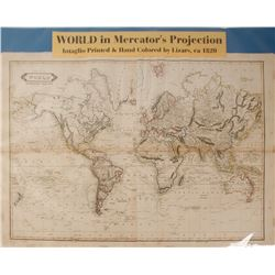 Map of World in Mercator's Projection, c.1820