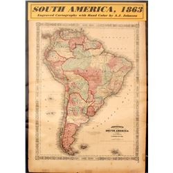 Map of South America, 1863