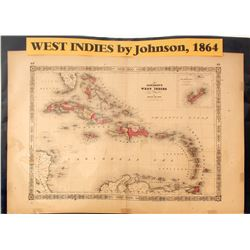 Map of West Indies, 1864