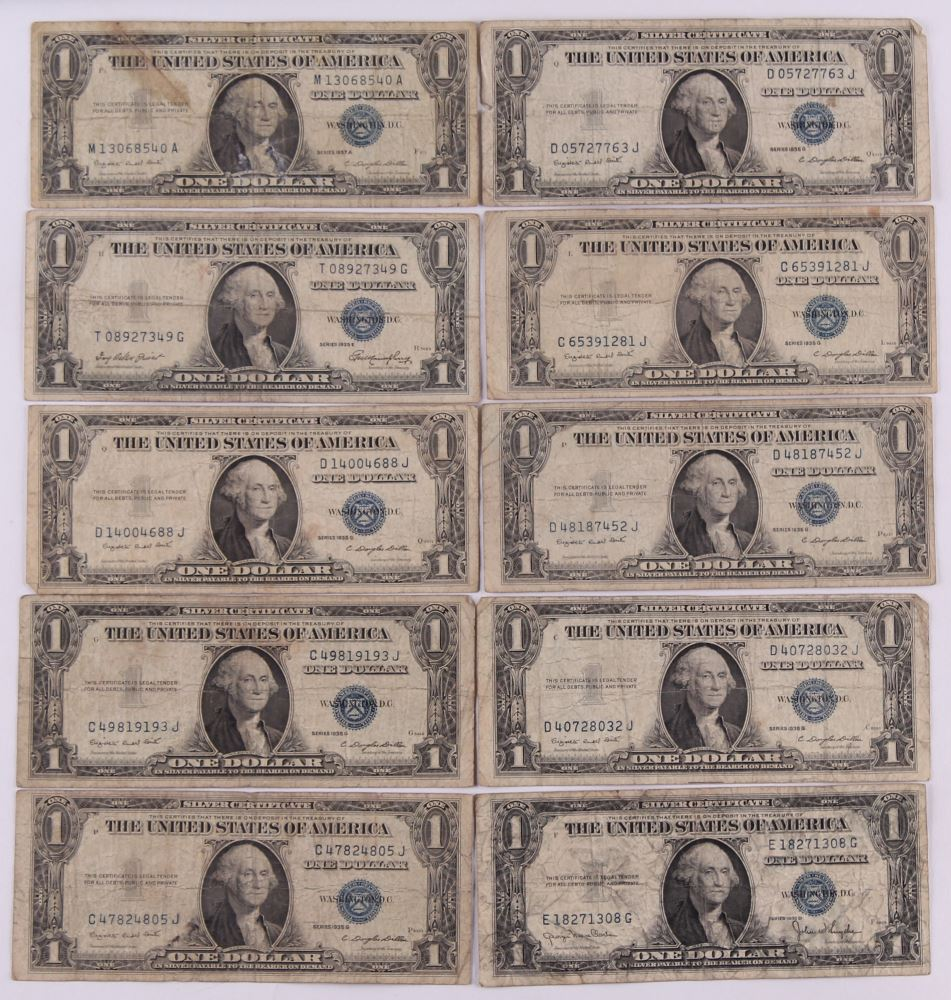 Set Of 5 $1 1935-1957 Blue Seal Silver Certificates