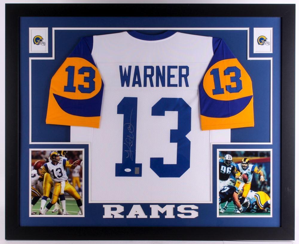 buy popular 40185 16941 Kurt Warner Signed Rams 35x43 Custom Framed Jersey (JSA ...