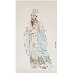 Li Keqin Chinese Watercolour Literati Paper Roll