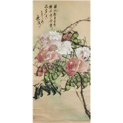 Chinese Watercolour Chinese Rose Signed by Artist