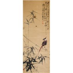 Huang Tang b.1936 Chinese Watercolor Bird & Bamboo