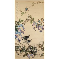 Jin Mengshi 1869-1952 Chinese Watercolour Birds