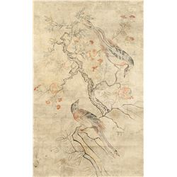 Korean Yi Dynasty 1392-1910 Watercolour Pheasants