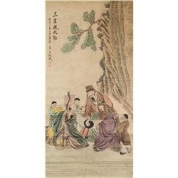 Lv Huancheng 1630-1705 Chinese Watercolour Sanxing