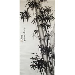 Qing Ya Ink Bamboo on Paper Scroll Provenance