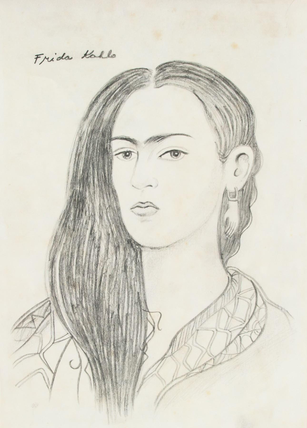 Frida kahlo 1907 1954 mexico pencil self portrait