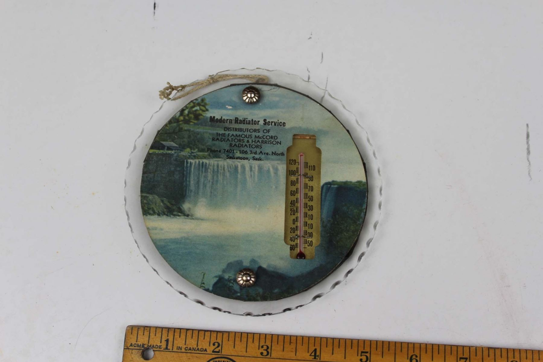 Antique Saskatoon SK, Glass Advertising Thermometer Modern Radiator Service