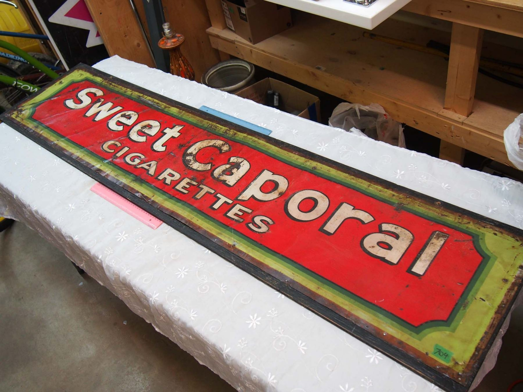 Sweet Caporal Cigarettes Tin Sign Mounted on Wood