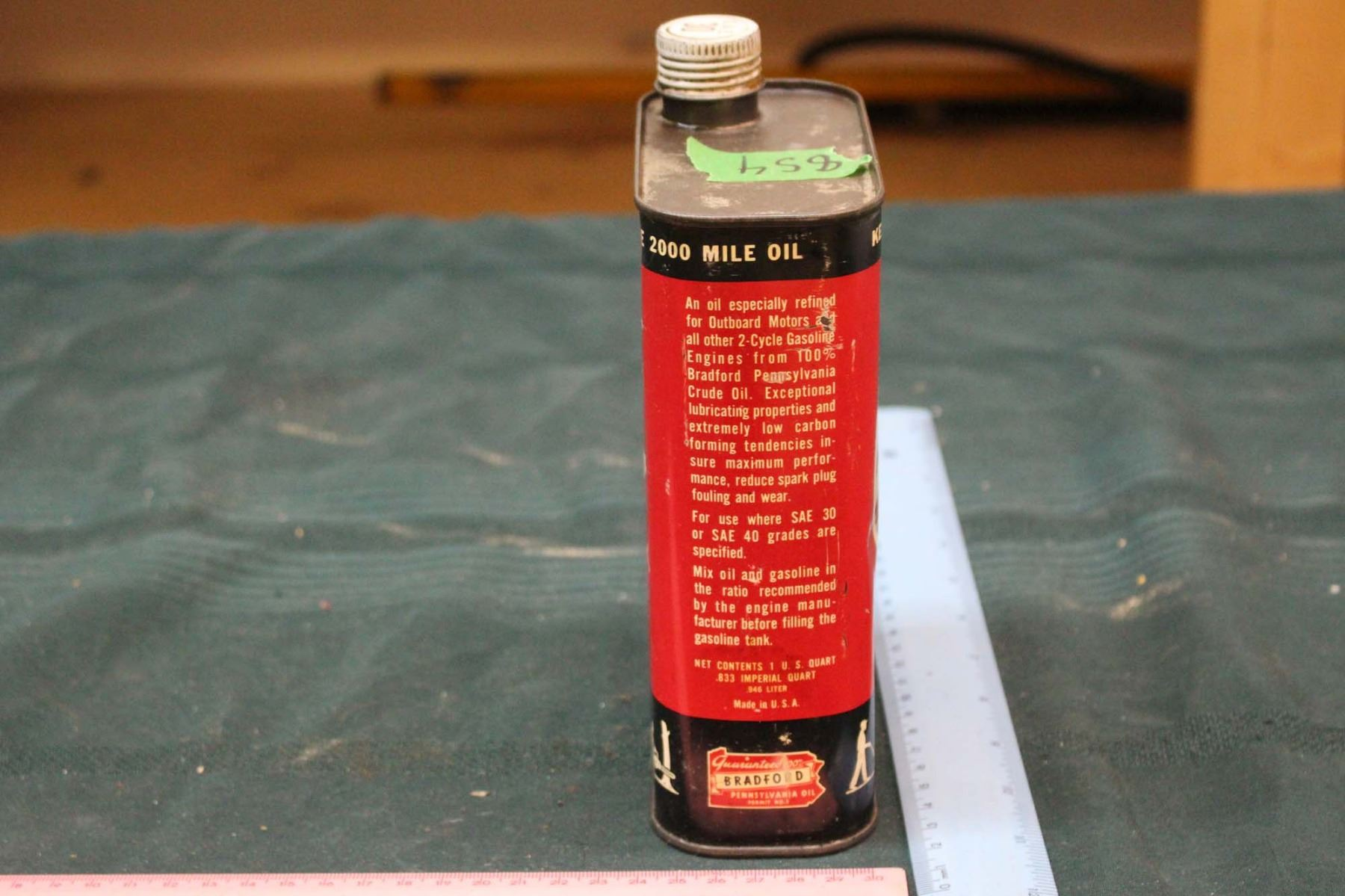 Outboard Kendall Motor Oil Tin, For 2 Cycle Engines