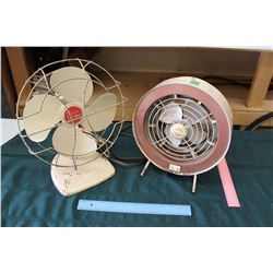 2 Vintage Working Metal Fans