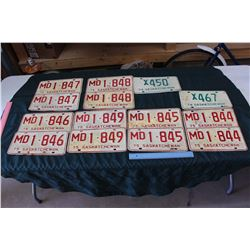 Lot Of 1970's Saskatchewan License Plates, Lots Of Matching And Sequential
