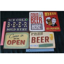 Lot Of Tin Sings (5) (Open And Beer Related)