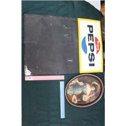 Pepsi Cola Tin Calk Board Sign and Tin Tray