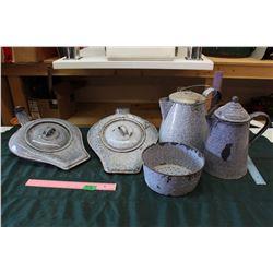 **Lot of Vintage Enamaled Bed Pans, Kettles & Strainer