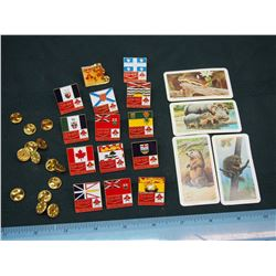 Co-Op Pins (14)& 'Animals and Their Young' Red Rose Picture Cards (4)