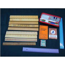 Vintage School Supplies: Wooden Rulers, Note Books, Etc