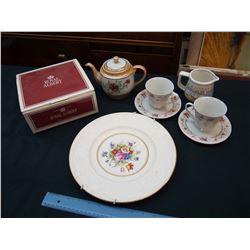 Lot of Assorted Dishware: Royal Albert 3 Piece Tea Set, Tea Pot, Etc
